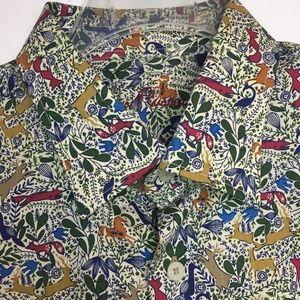 Alan Flusser L deer horse fox pheasant shirt
